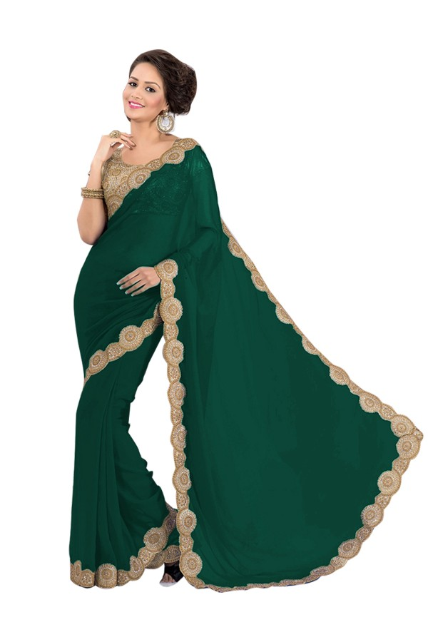 Party Wear Georgette Green Saree - EBSFS16585