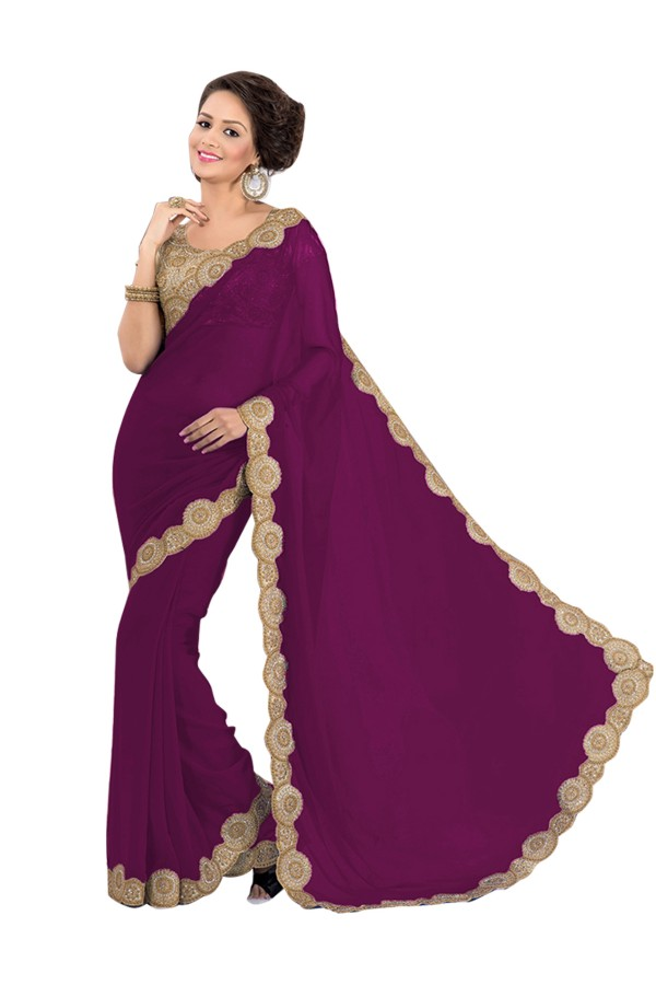 Party Wear Georgette Magenta Saree - EBSFS16587