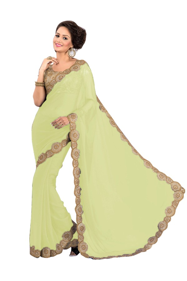 Party Wear Georgette Off White Saree - EBSFS16593