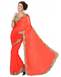 Party Wear Georgette Orange Saree - EBSFS16524