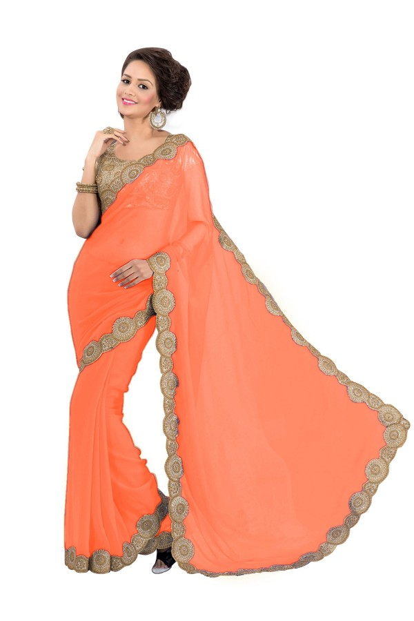 Party Wear Georgette Orange Saree - EBSFS16528