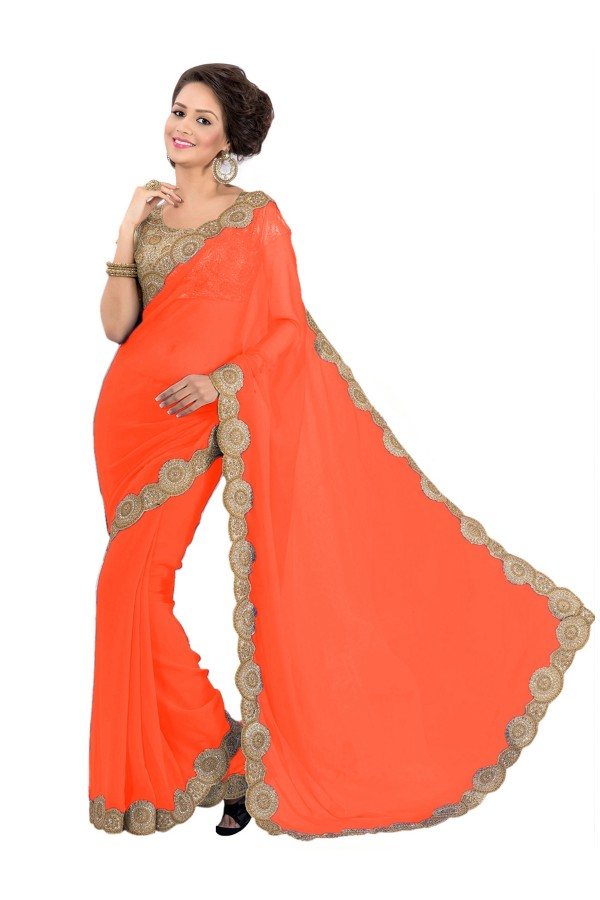 Party Wear Georgette Orange Saree - EBSFS16534