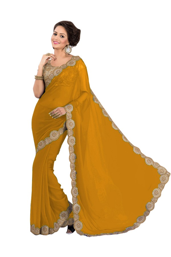 Party Wear Georgette Orange Saree - EBSFS16583