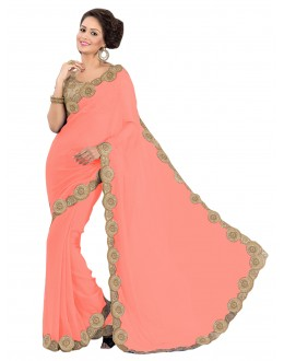 Party Wear Georgette Peach Saree - EBSFS16503
