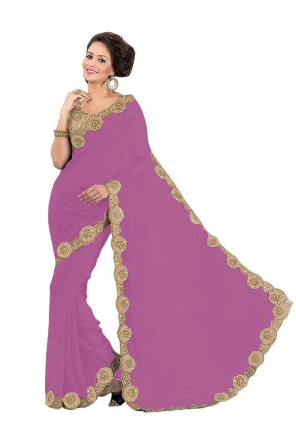 Party Wear Georgette Pink Saree - EBSFS16509