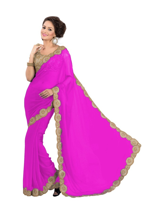 Party Wear Georgette Pink Saree - EBSFS16521