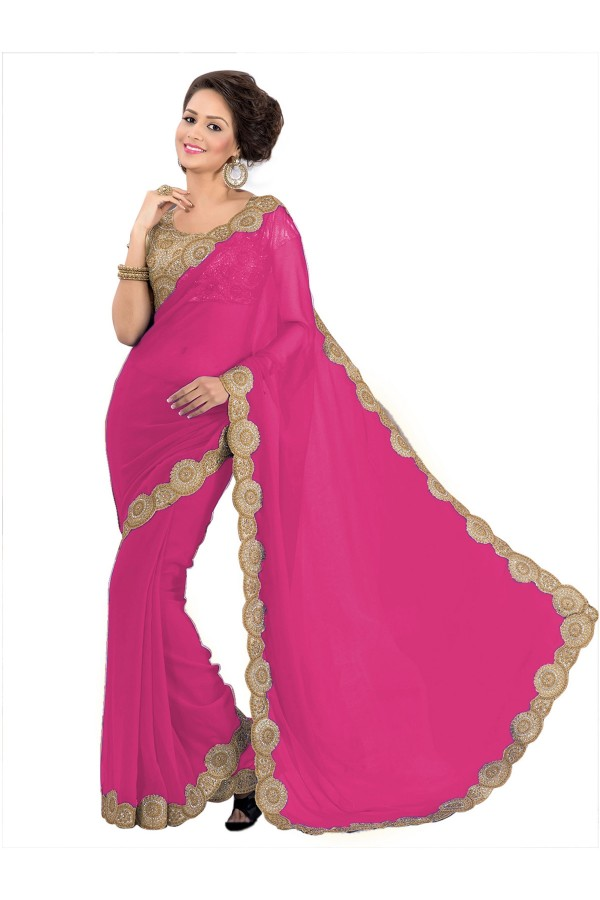 Party Wear Georgette Pink Saree - EBSFS16544