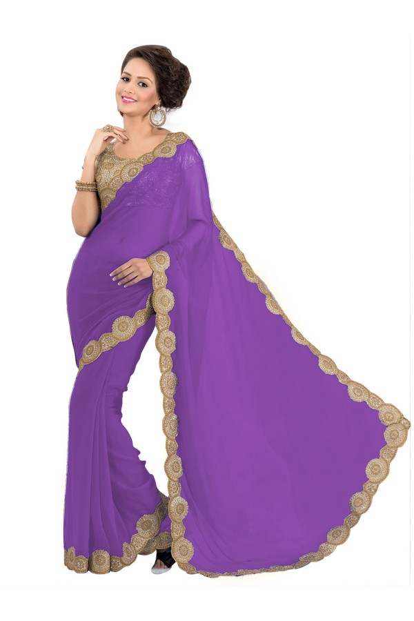 Party Wear Georgette Purple Saree - EBSFS16530