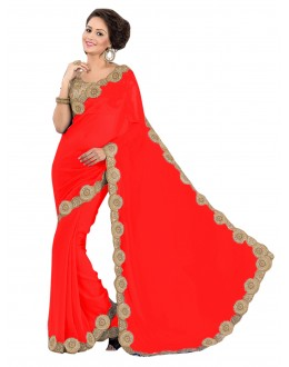 Party Wear Georgette Red Saree - EBSFS16551