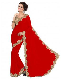 Party Wear Georgette Red Saree - EBSFS16555