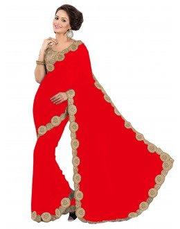 Party Wear Georgette Red Saree - EBSFS16563