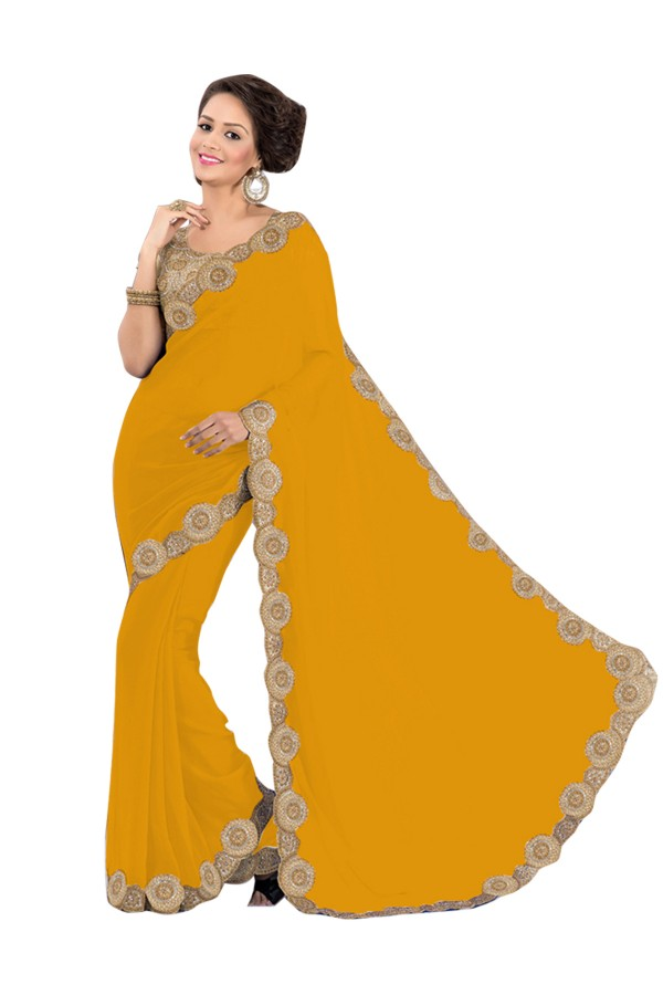 Party Wear Georgette Yellow Saree - EBSFS16510