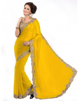 Party Wear Georgette Yellow Saree - EBSFS16526