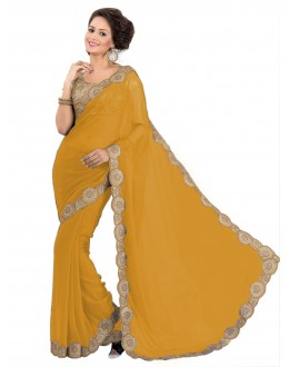 Party Wear Georgette Yellow Saree - EBSFS16542