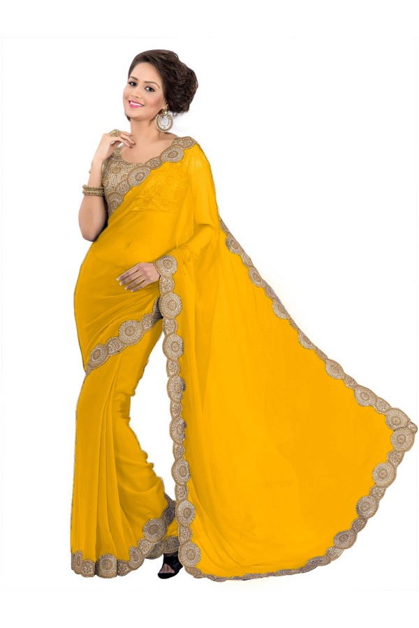 Party Wear Georgette Yellow Saree - EBSFS16547