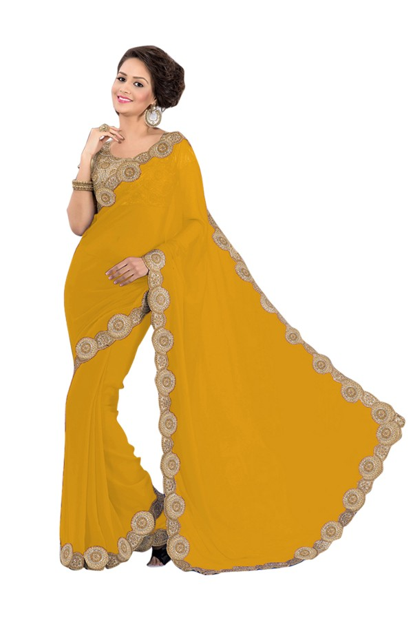 Party Wear Georgette Yellow Saree - EBSFS16553