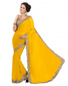 Party Wear Georgette Yellow Saree - EBSFS16574