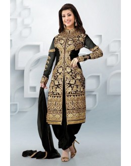 Ethnic Wear Georgette Black Patiala Suit - EBSFSK09107C