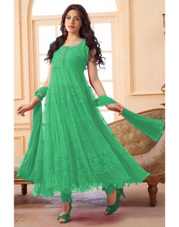Ethnic Wear Net Green Anarkali Suit - EBSFSK09101H