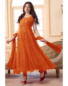 Ethnic Wear Net Orange Anarkali Suit - EBSFSK09101G