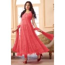Ethnic Wear Net Peach Anarkali Suit - EBSFSK09101B