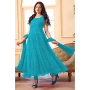 Ethnic Wear Net Sky Blue Anarkali Suit - EBSFSK09101M