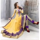 Ethnic Wear Net Yellow Anarkali Suit - EBSFSK09102A