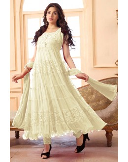 Festival Wear Net Off White Anarkali Suit - EBSFSK09101E