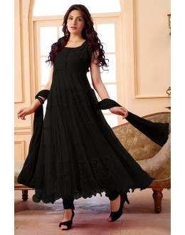 Party Wear Net Black Anarkali Suit - EBSFSK09101J