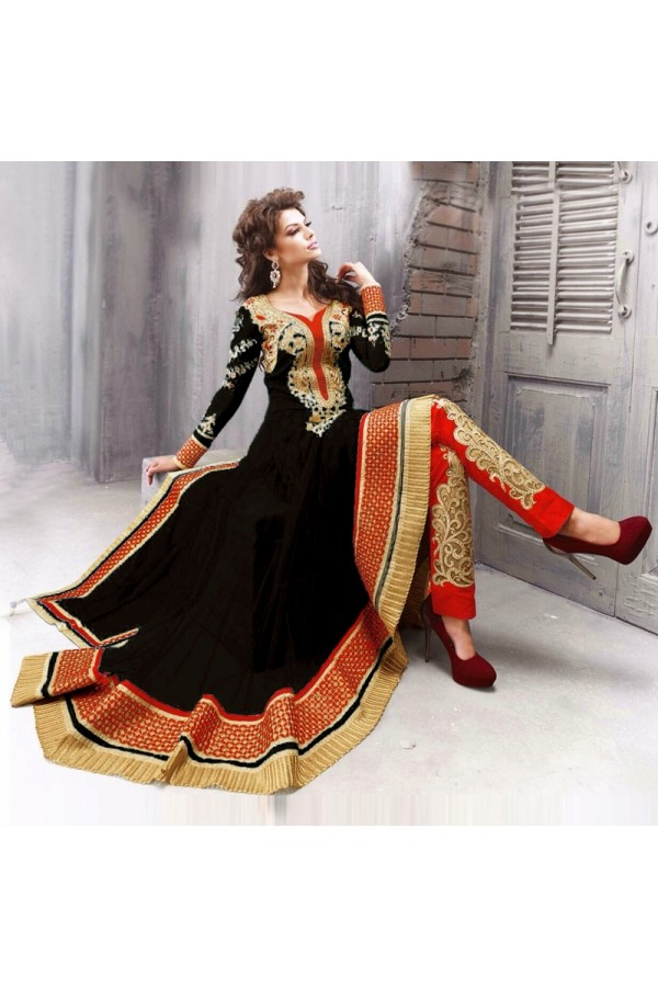 Party Wear Net Black Anarkali Suit - EBSFSK09102G