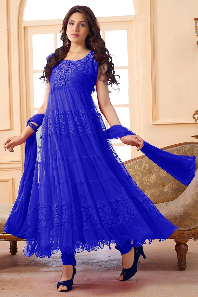 Party Wear Net Blue Anarkali Suit - EBSFSK09101A