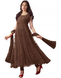 Party Wear Net Brown Anarkali Suit - EBSFSK09101F