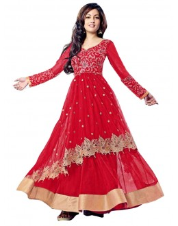 Wedding Wear Red Net Anarkali Suit - EBSFSK14208B