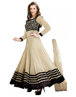 Wedding Wear Cream Net Anarkali Suit - EBSFSK14212B