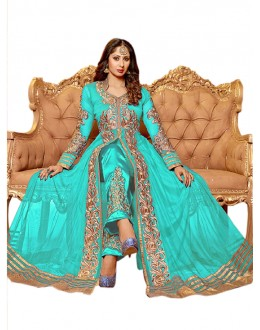 Wedding Wear Sky Blue Net Anarkali Suit  - EBSFSK14201E ( EBSFSK14 )