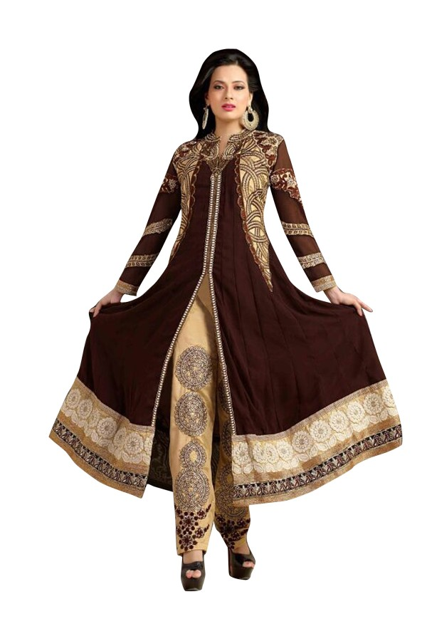 Party Wear Brown Georgette Anarkali Suit - EBSFSK202002C