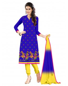 Party Wear Cotton Blue Salwar Kameez - EBSFSK202025