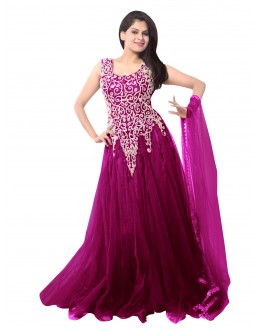 Party Wear Net Magenta Gown - EBSFSK234014F