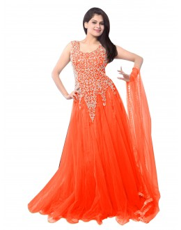 Party Wear Net Orange Gown - EBSFSK234014C