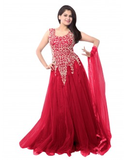 Party Wear Net Pink Gown - EBSFSK234014D