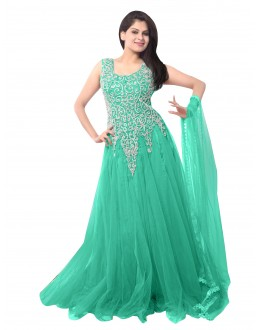 Party Wear Net Sea Green Gown - EBSFSK234014E
