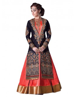 Wedding Wear Orange & Blue Anarkali Suit  - EBSFSK245002 ( EBSFSK24 )