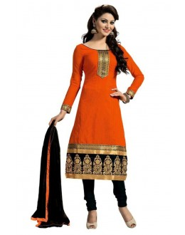 Chanderi Cotton Embroidered Orange Salwar Kameez - ( EBSFSK25 )