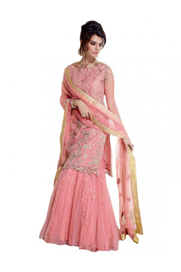 Net & Georgette Embroidered Pink Palazzo Suit ( EBSFSK25 )