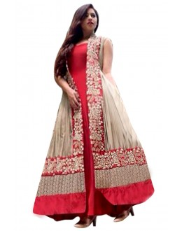 Banglori Silk Net Embroidered Red & Beige Anarkali Salwar Kameez  - EBSFSK28912 ( EBSFSK28 )