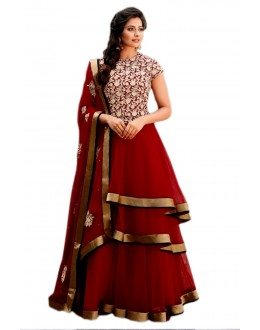 Soft Net Embroidered Red Anarkali Salwar Kameez  - EBSFSK28934 ( EBSFSK28 )