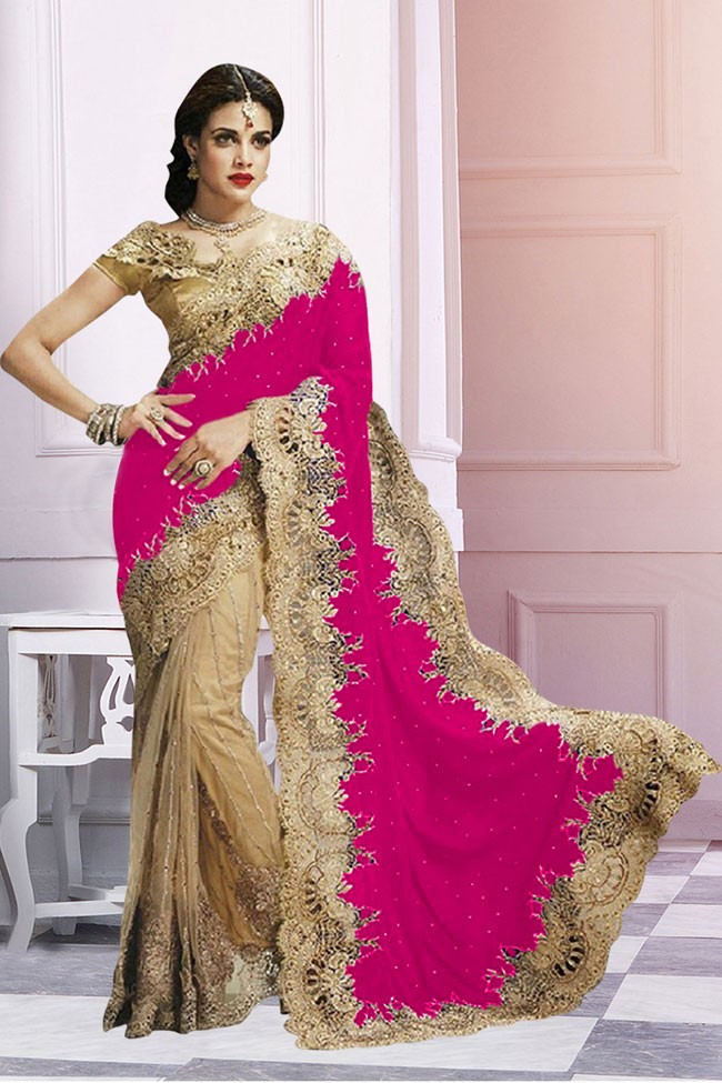 Wedding Wear Beige & Pink Saree  - EBSFS212106K