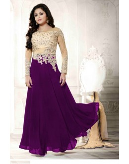 Georgette Embroidered Purple Anarkali Salwar Kameez - EBSFSK223059D ( EBSFSK22 )
