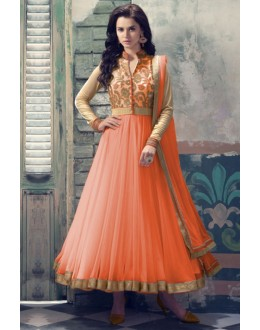 Net Embroidered Peach Anarkali Salwar Kameez - EBSFSK223021D ( EBSFSK22 )