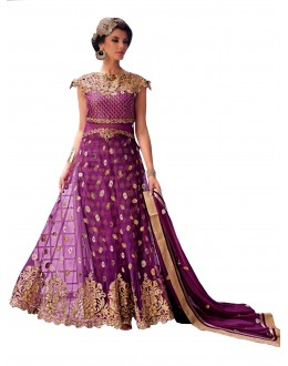 Party Wear Net Embroidered Purple Anarkali Suit - EBSFSK291003 ( EBSFSK29 )